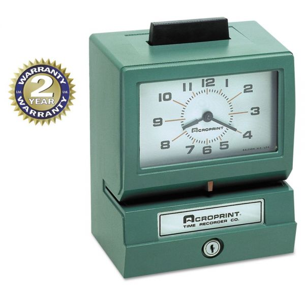 Acroprint Model 125 Analog Manual Print Time Clock with Month/Date/0-23 Hours/Minutes