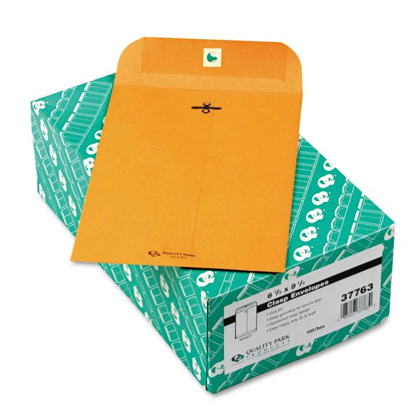 Quality Park Clasp Envelope, 6 1/2 x 9 1/2, 32lb, Brown Kraft, 100/Box