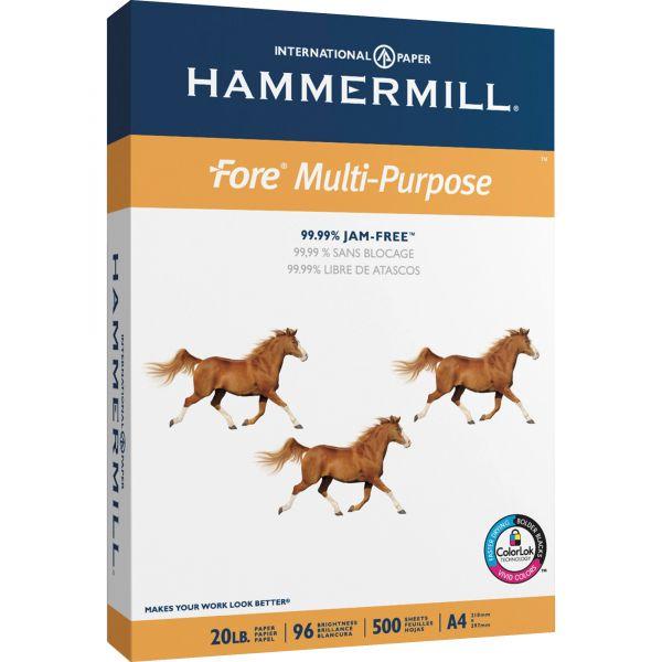 Hammermill Fore MP Multipurpose Paper, 96 Brightness, 20lb, A4, White, 500/Ream