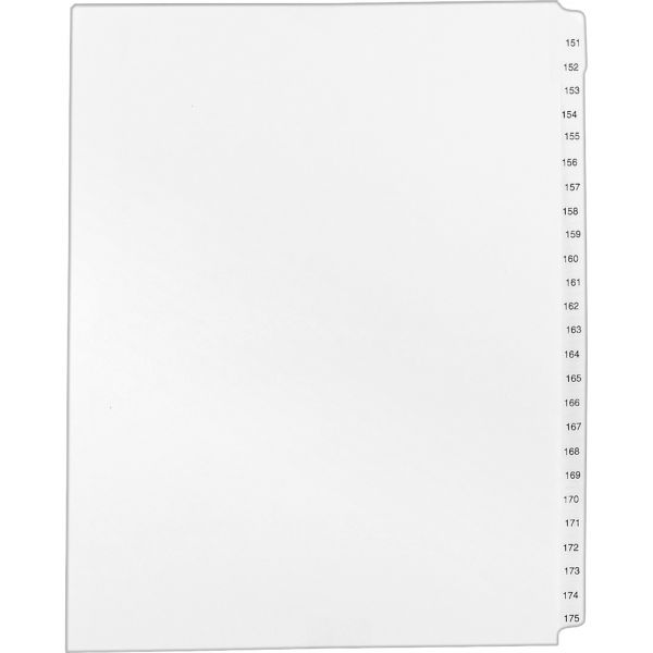 Avery-Style Legal Exhibit Side Tab Divider, Title: 151-175, Letter, White