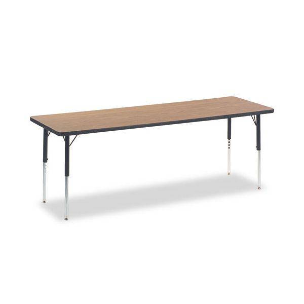 Virco 4000 Series Rectangular Activity Table, 24w x 72d x 30h, Medium Oak/Chrome