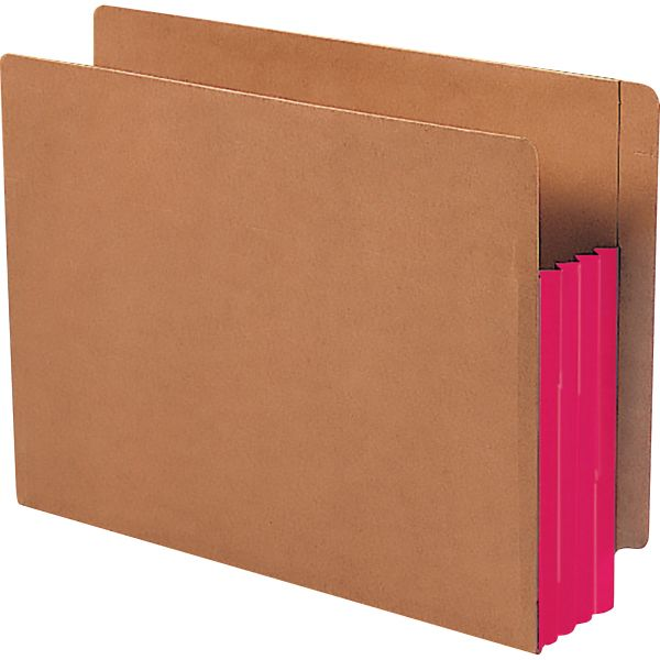Smead Extra Wide Redrope Expanding End Tab File Pockets with Reinforced Tabs and Colored Gussets