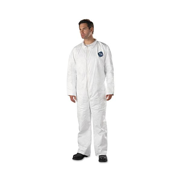 DuPont Tyvek Coveralls, Open Wrist/Ankle, HD Polyethylene, White, 2X-Large, 25/Carton
