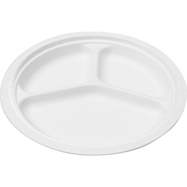 NatureHouse Compostable Sugarcane Bagasse 10 in 3-Compartment Plate, Round, White, 50/Pack