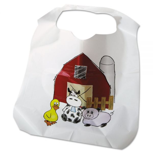 Atlantis Plastics Disposable Child-Size Poly Bibs, Zoo/Farm Pattern, 250/Carton