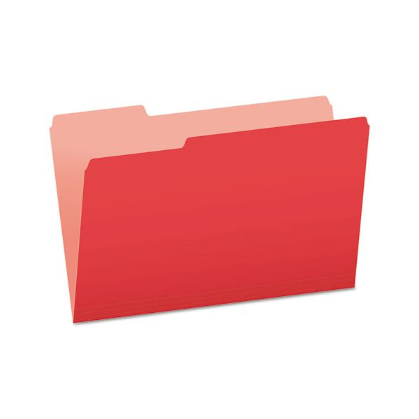 Pendaflex Colored File Folders, 1/3 Cut Top Tab, Legal, Red/Light Red, 100/Box