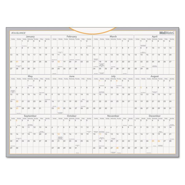 AT-A-GLANCE WallMates Self-Adhesive Dry Erase Yearly Wall Calendar