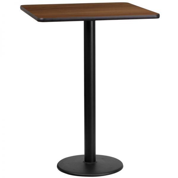 Flash Furniture 24'' Square Walnut Laminate Table Top with 18'' Round Bar Height Table Base