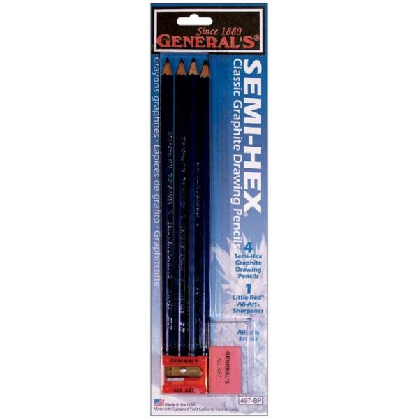 Semi-Hex Graphite Drawing Pencils 4/Pkg