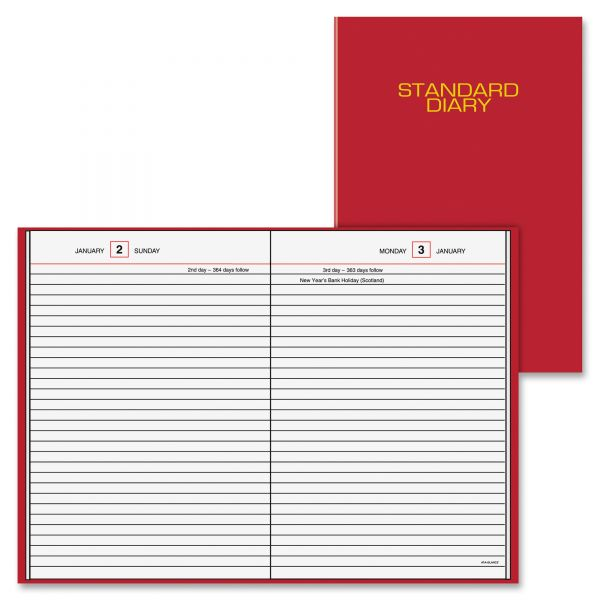 AT-A-GLANCE Standard Diary Recycled Daily Reminder, Red, 5 3/4 x 8 1/4, 2019