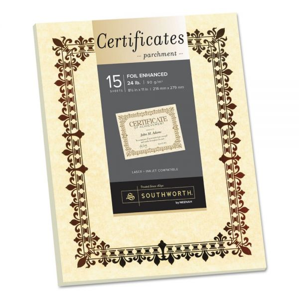 Southworth Foil-Enhanced Parchment Certificate, Ivory w/Bronze Foil, 8 1/2 x 11, 15/Pack
