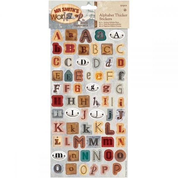 Papermania Mr. Smith's Workshop Thick Alphabet Stickers