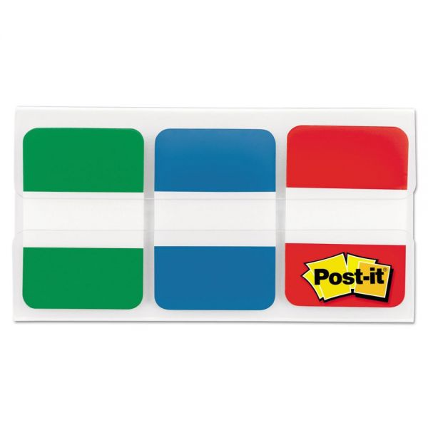Post-it Tabs File Tabs, 1 x 1 1/2, Blue/Green/Red, 66/Pack