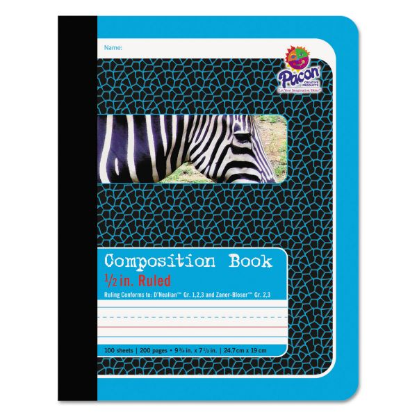Pacon Composition Book, 1/2 Ruling, 9 3/4 x 7 1/2, 100 Sheets