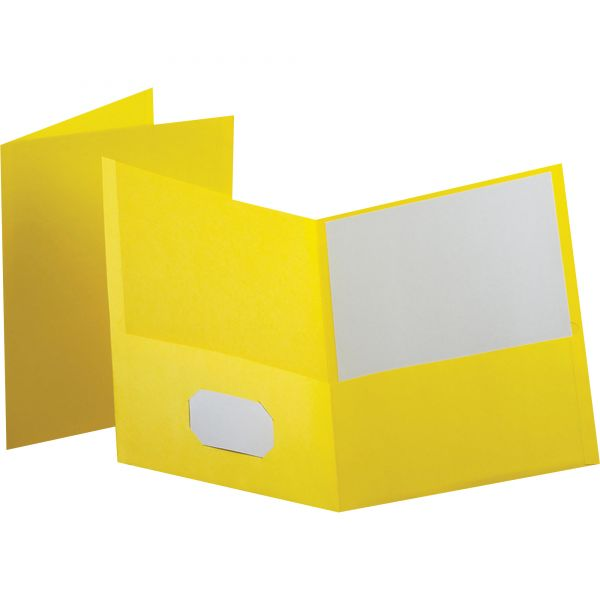 Oxford Twin-Pocket Folder, Embossed Leather Grain Paper, Yellow, 25/Box