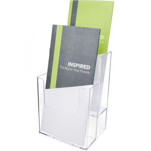 deflect-o Plastic Extra-Deep Flat-Back Literature Display Rack, Clear