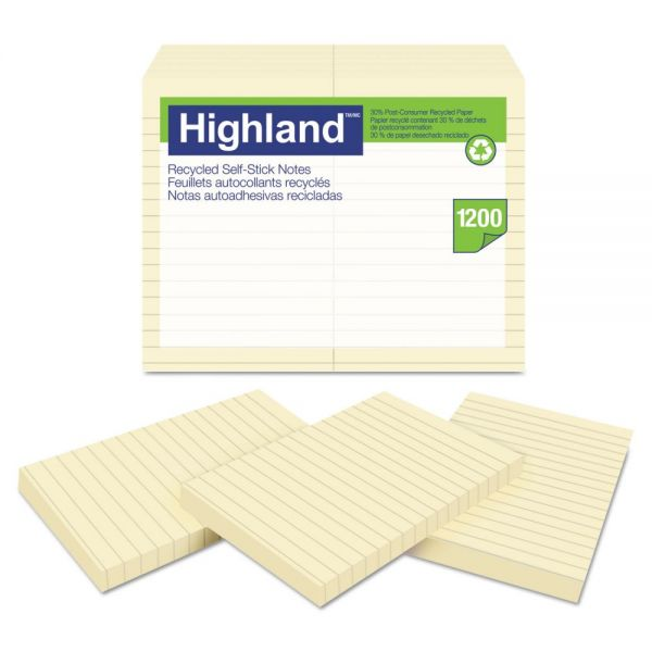 Highland Recycled Self Stick Notes, 4 x 6, Yellow, 100 Sheets/Pad, 12 Pads/Pack