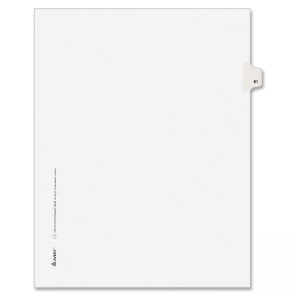 Avery-Style Legal Exhibit Side Tab Divider, Title: 81, Letter, White, 25/Pack