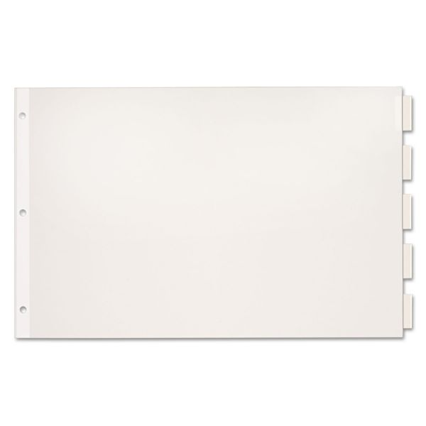 Cardinal Paper Insertable Dividers, 5-Tab, 11 x 17, White Paper/Clear Tabs