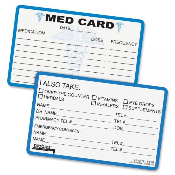 Tabbies Medical Information Cards