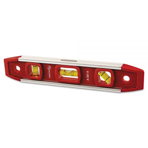 "Anchor Brand Magnetic Torpedo Level, 9"" Long, Aluminum, Tri-Vial"