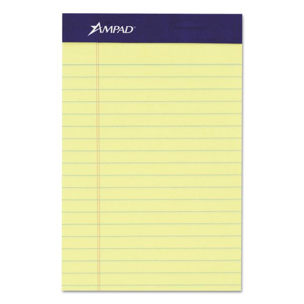 Ampad Jr. Legal Ruled Pad, 5 x 8, Canary, 50 Sheets/Pad, 4 Pads/Pack
