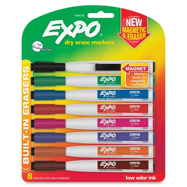 EXPO Magnetic Dry Erase Marker, Fine Tip, Assorted, 8/Pack