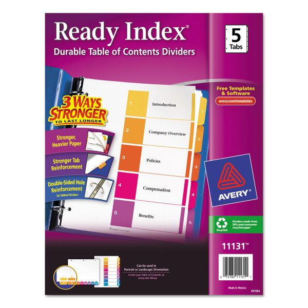 Avery Ready Index 5-Tab Numbered Dividers With Table Of Contents Page