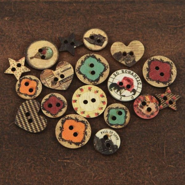 "Romance Novel Wood Buttons .75"" To 1"" 18/Pkg"