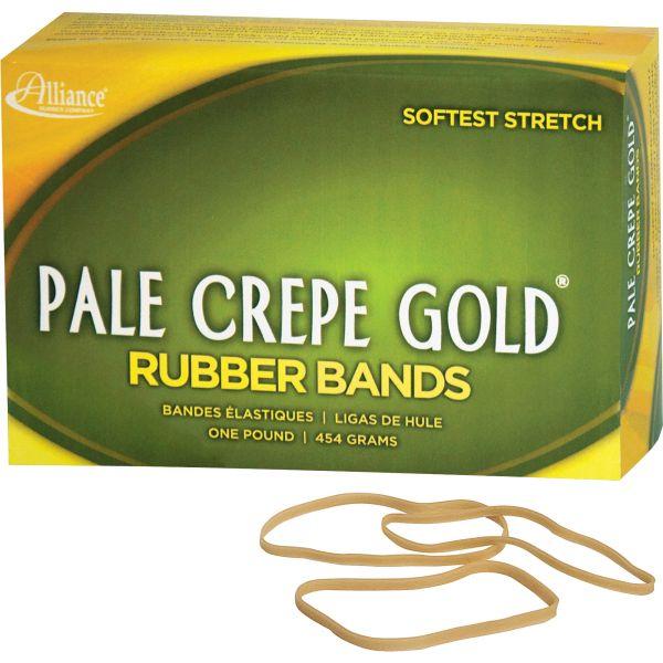 Alliance Pale Crepe Gold Rubber Bands, Sz. 33, 3-1/2 x 1/8, 1lb Box