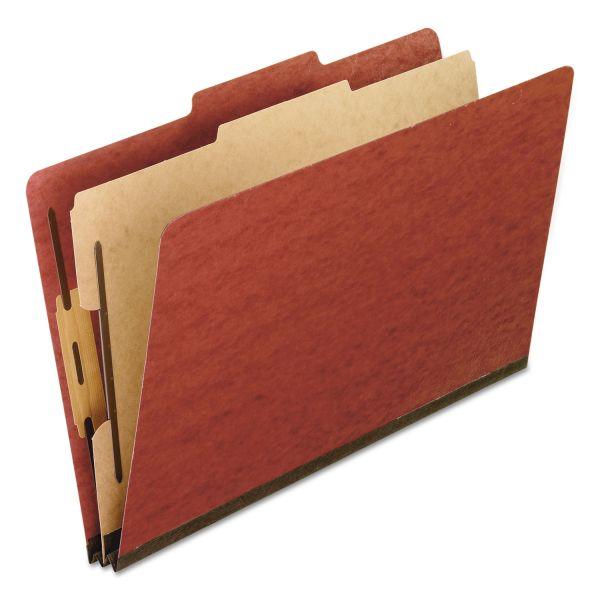 Pendaflex Four-Section Pressboard Folders, Legal, 2/5 Tab, Red, 10/Box