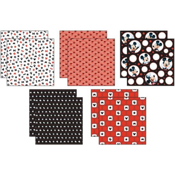 """Disney Mickey Black/White/Red Paper Pack 12""""X12"""" 10 Sheets"""