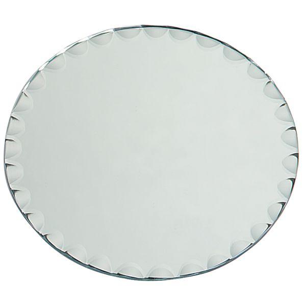 Round Glass Mirror W/Scallop Edge Bulk
