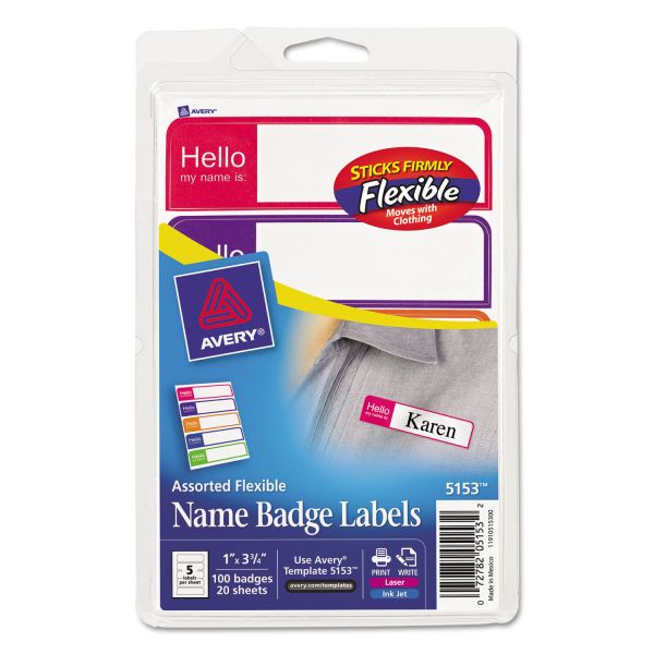 Avery Flexible Self-Adhesive Mini Badge Labels, 1 x 3 3/4, Hello, Bright Asst, 100/PK