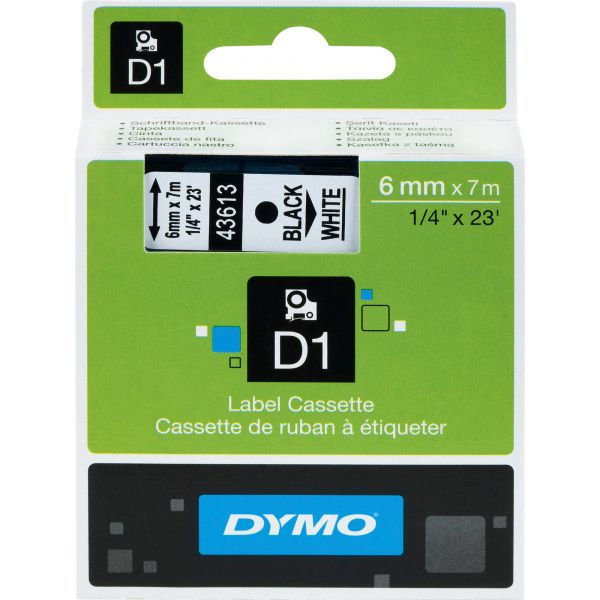 "DYMO D1 High-Performance Polyester Removable Label Tape, 1/4"" x 23 ft, Black on White"
