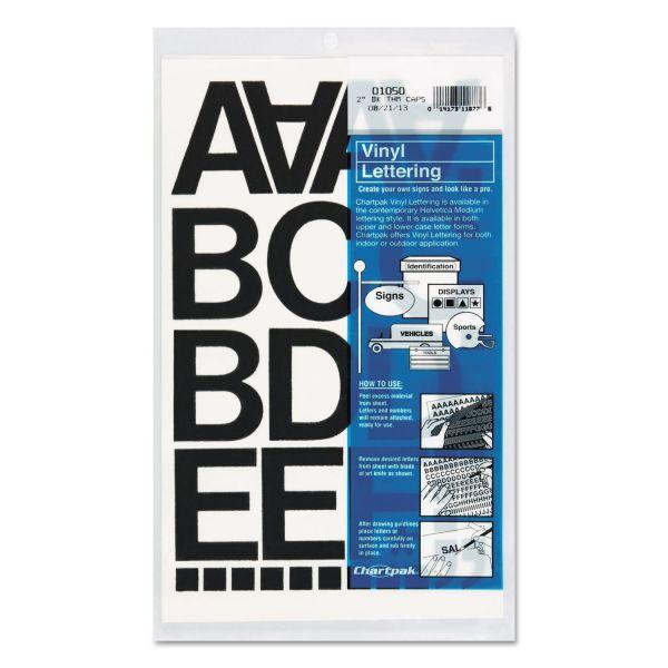 "Chartpak Press-On Vinyl Letters & Numbers, Self Adhesive, Black, 2""h, 77/Pack"