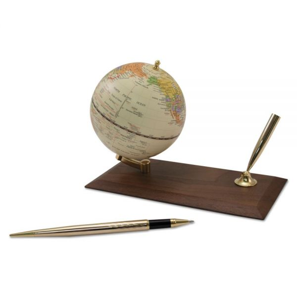 "Advantus Ivory Globe Holder with Pen Stand, 3 7/8"" Diameter, Walnut Base/Gold Accents"