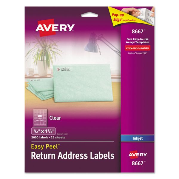 Avery Matte Clear Easy Peel Return Address Labels, Inkjet, 1/2 x 1 3/4, 2000/Pack