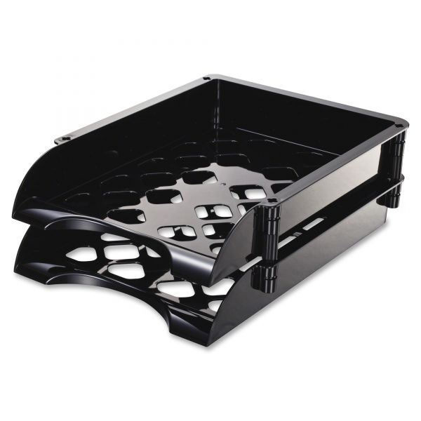 Officemate Unbreakable High Capacity Tray Set, Letter/Legal, Black, 2/PK