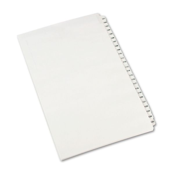 Avery-Style Legal Exhibit Side Tab Divider, Title: 101-125, 14 x 8 1/2, White