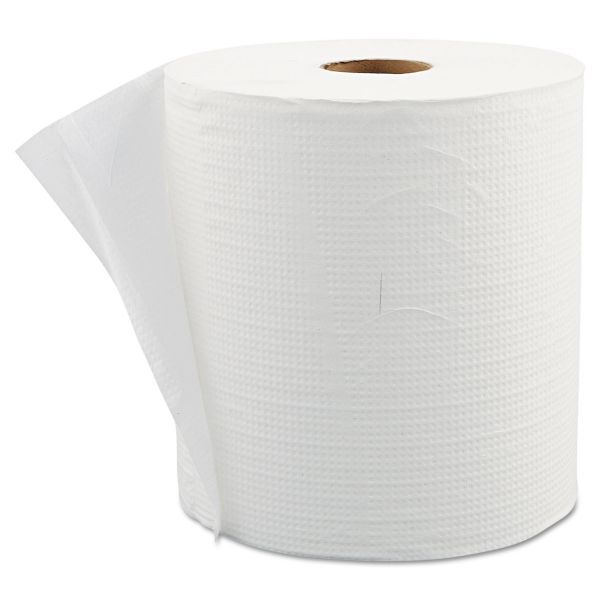 "Morcon Paper Hardwound Roll Paper Towels, 7 9/10"" x 800 ft, 1-Ply, White, 6 Rolls/Carton"