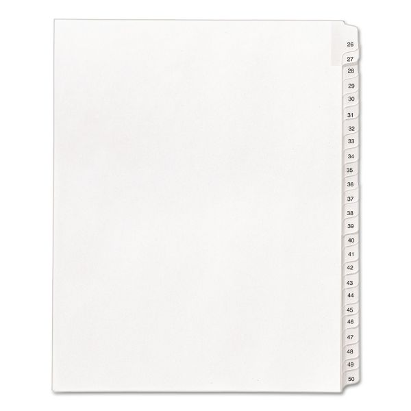 Avery Allstate-Style Legal Exhibit Side Tab Dividers, 25-Tab, 26-50, Letter, White