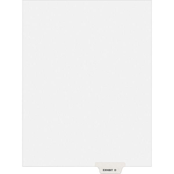 Avery-Style Preprinted Legal Bottom Tab Divider, Exhibit D, Letter, White, 25/PK