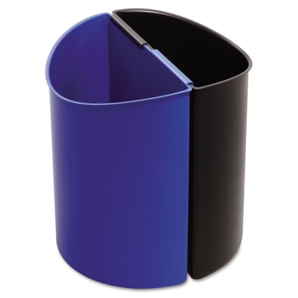 Safco Desk-Side Recycling Receptacle, 3gal, Black and Blue