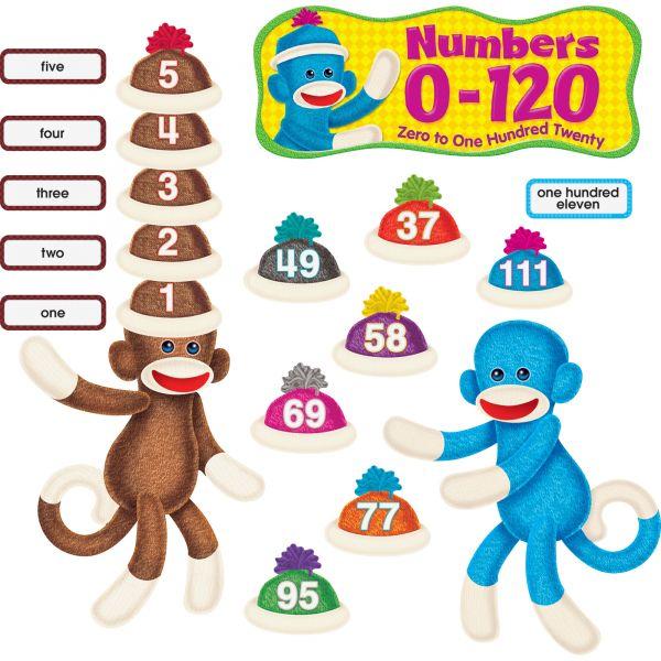 Sock Monkeys Numbers 0-120 Bulletin Board Set