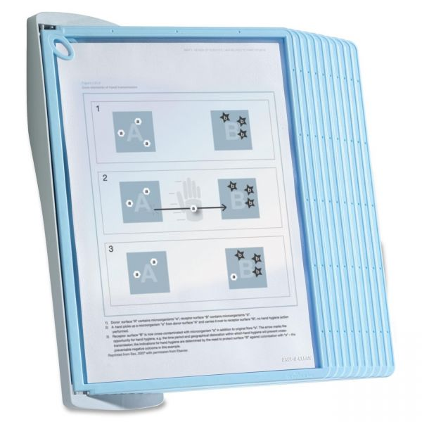 Durable SHERPA Style Wall Reference System, 20 Sheet Capacity, Blue/Gray