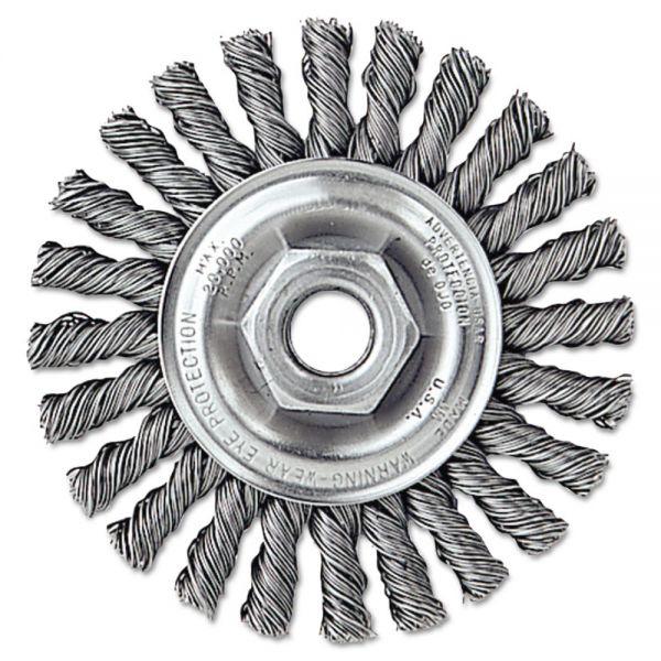 """Weiler Dualife Twist-Knot Wire Wheel, 4"""" dia, 7/8"""" Trim .02 Wire, 5/8"""" Arbor"""