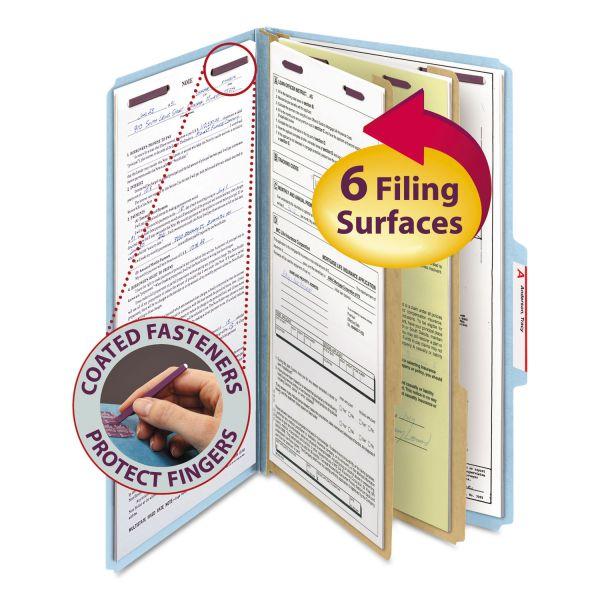 Smead Pressboard Classification Folders, Legal, Six-Section, Blue, 10/Box