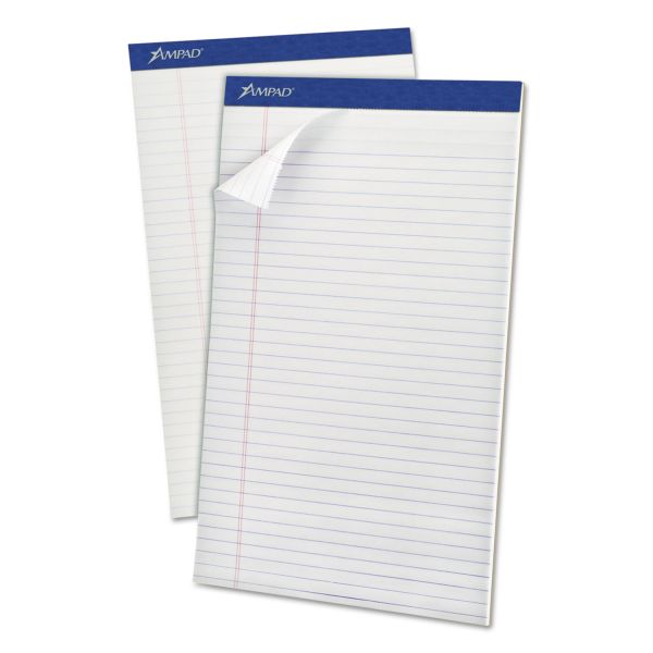 Ampad Perforated Writing Pad, 8 1/2 x 14, White, 50 Sheets, Dozen