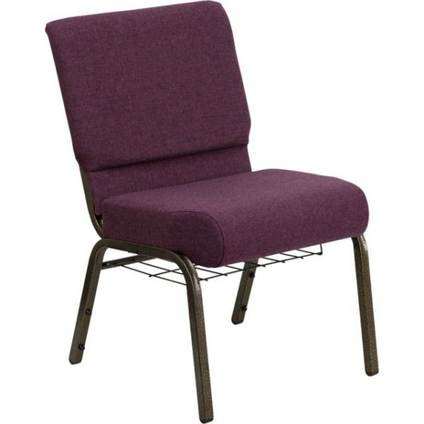 Flash Furniture HERCULES Series 21'' Extra Wide Plum Fabric Church Chair with 4'' Thick Seat, Communion Cup Book Rack - Gold Vein Frame [FD-CH0221-4-GV-005-BAS-GG]